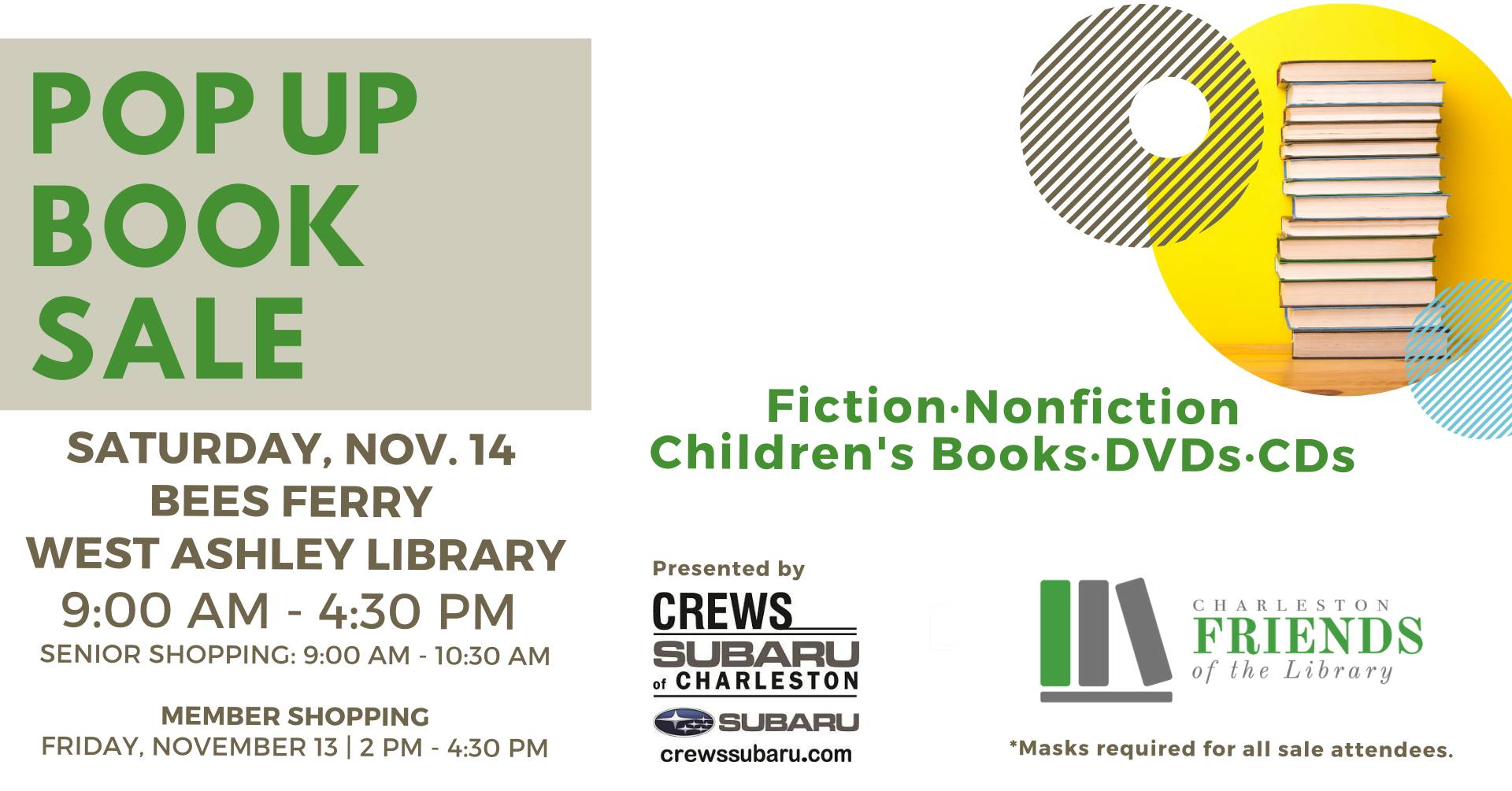 Support Charleston Friends of the Library on November 14th at a Pop-Up Book Sale