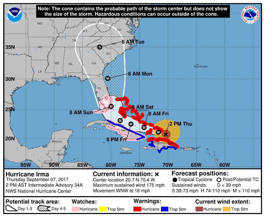 2pm Thursday update from National Hurricane Center