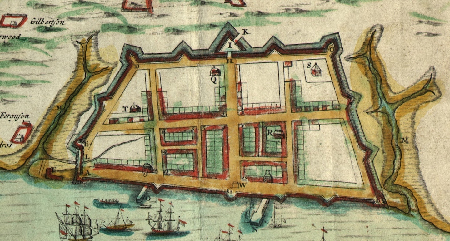 A close up of the walled city in the 1711 Crisp map.