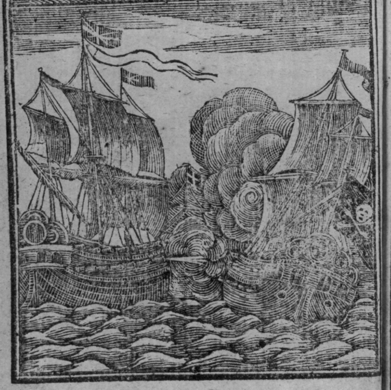 A 1725 depiction of pirates in combat from Johnson's History of the Pyrates