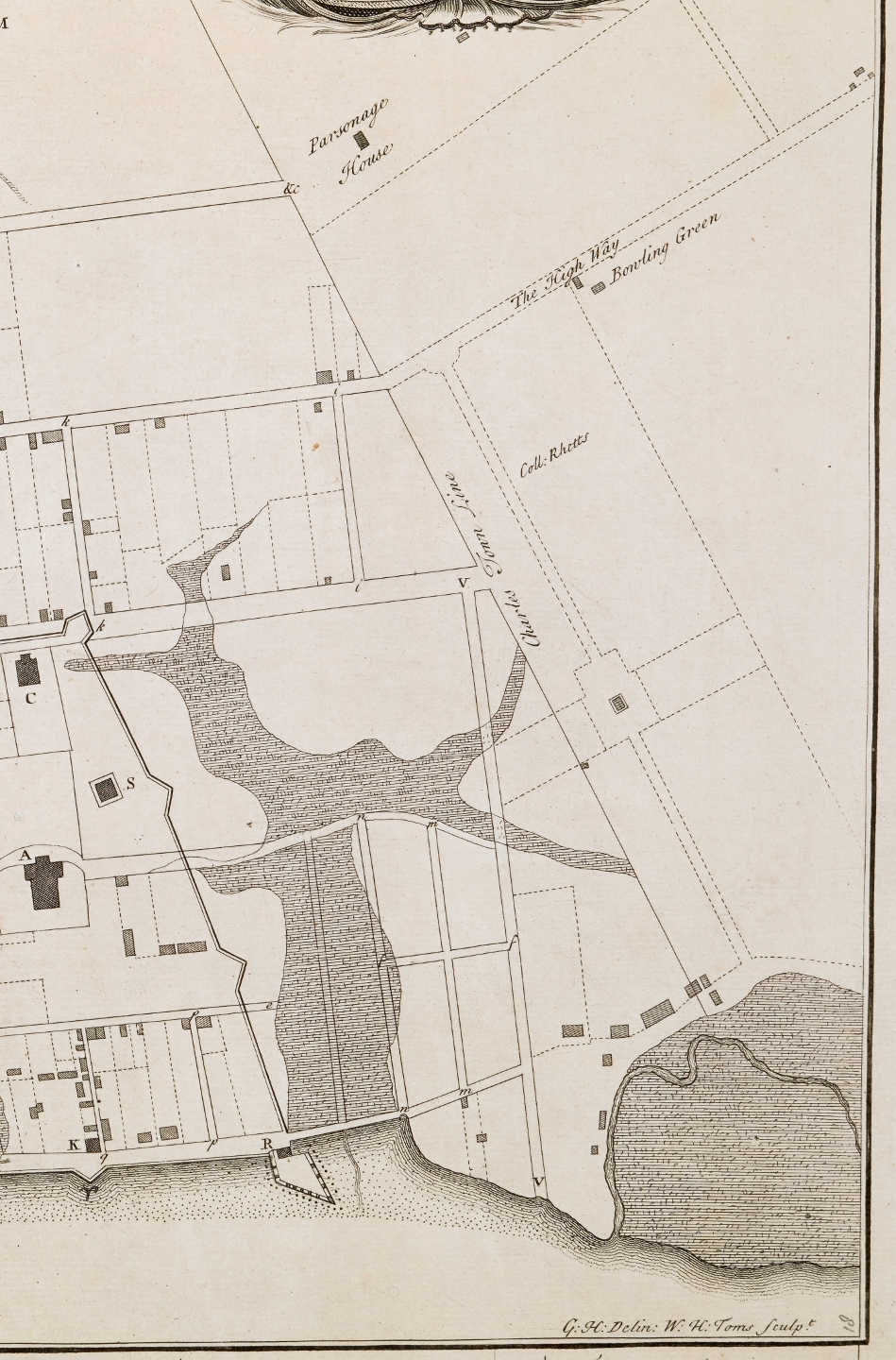 Bishop robertss 1739 map titled the ichnography of charles town at high water provides the first clear depiction of the line separating the town from