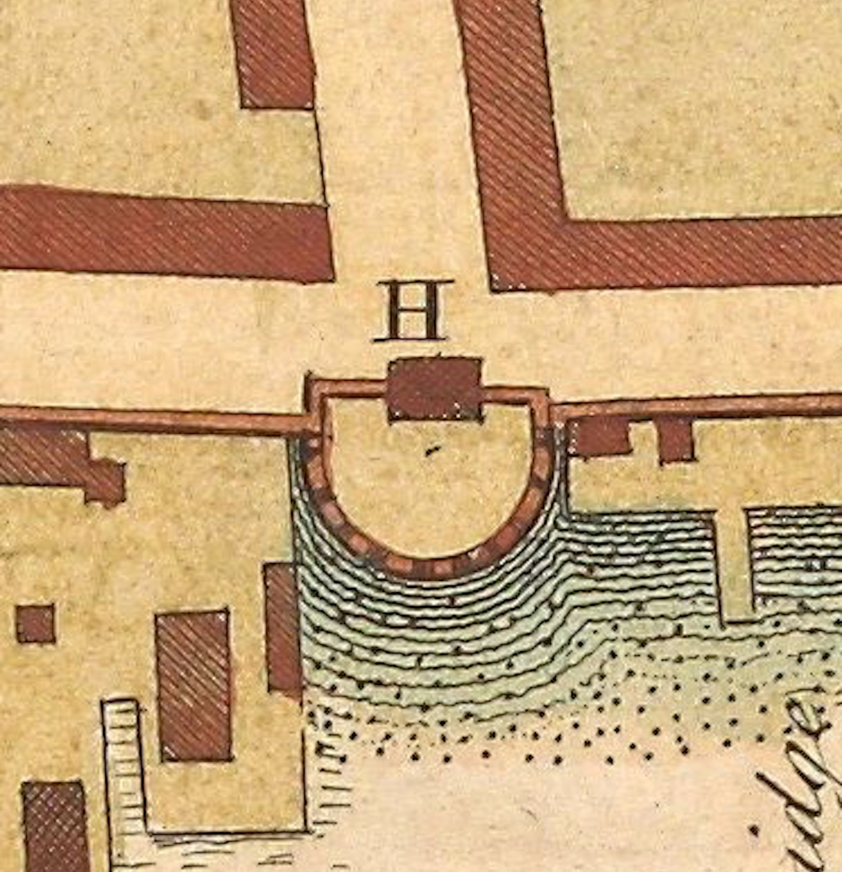 The 1739 Ichnography of Charleston Town showing a detail of Half Moon Battery.