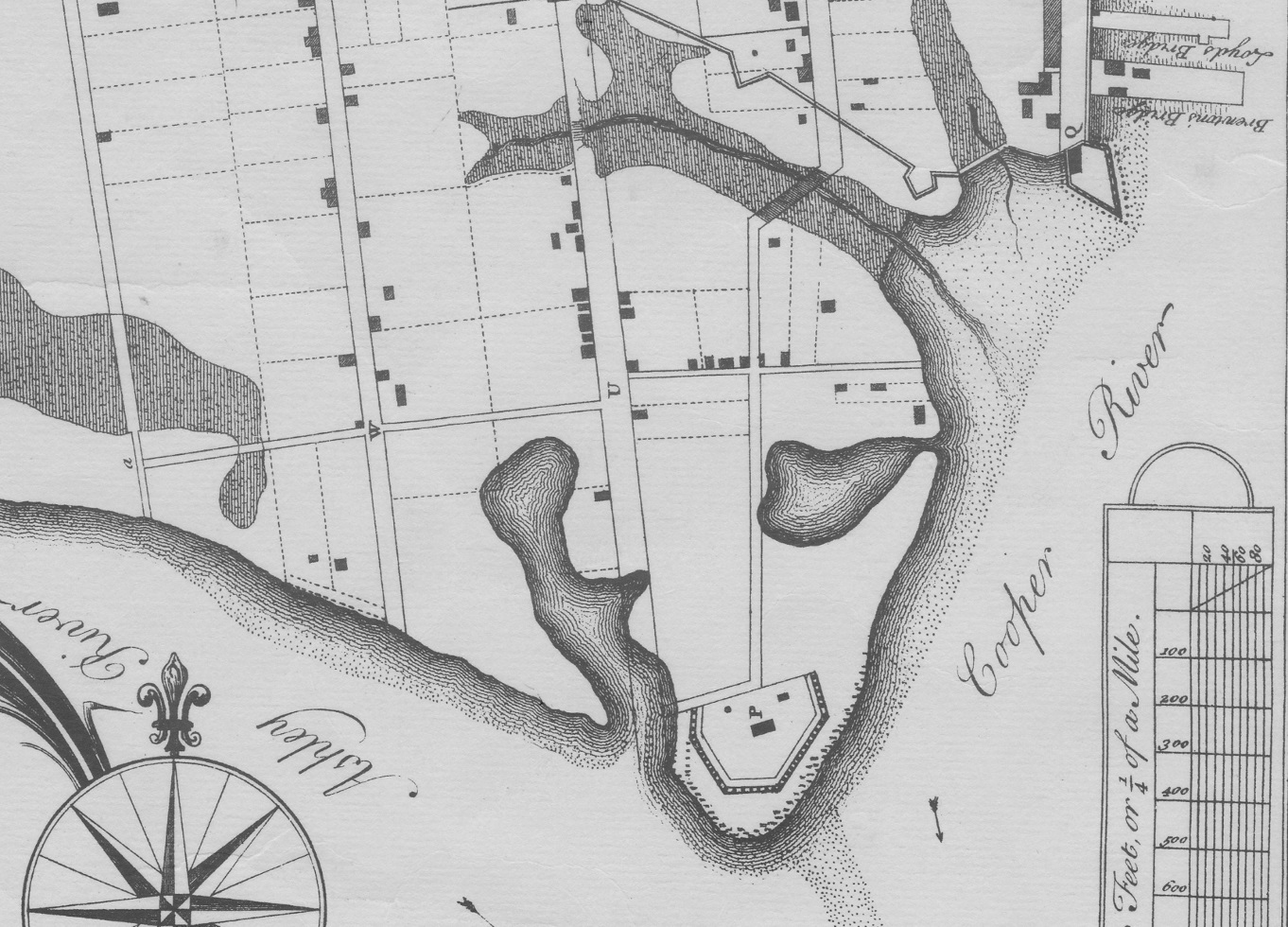 """Detail of White Point from B. Roberts's 1739 Ichnography of Charles Town. Letter """"Q"""" is Granville Bastion (top right), while letter """"P"""" is Broughton's Battery (bottom center)."""
