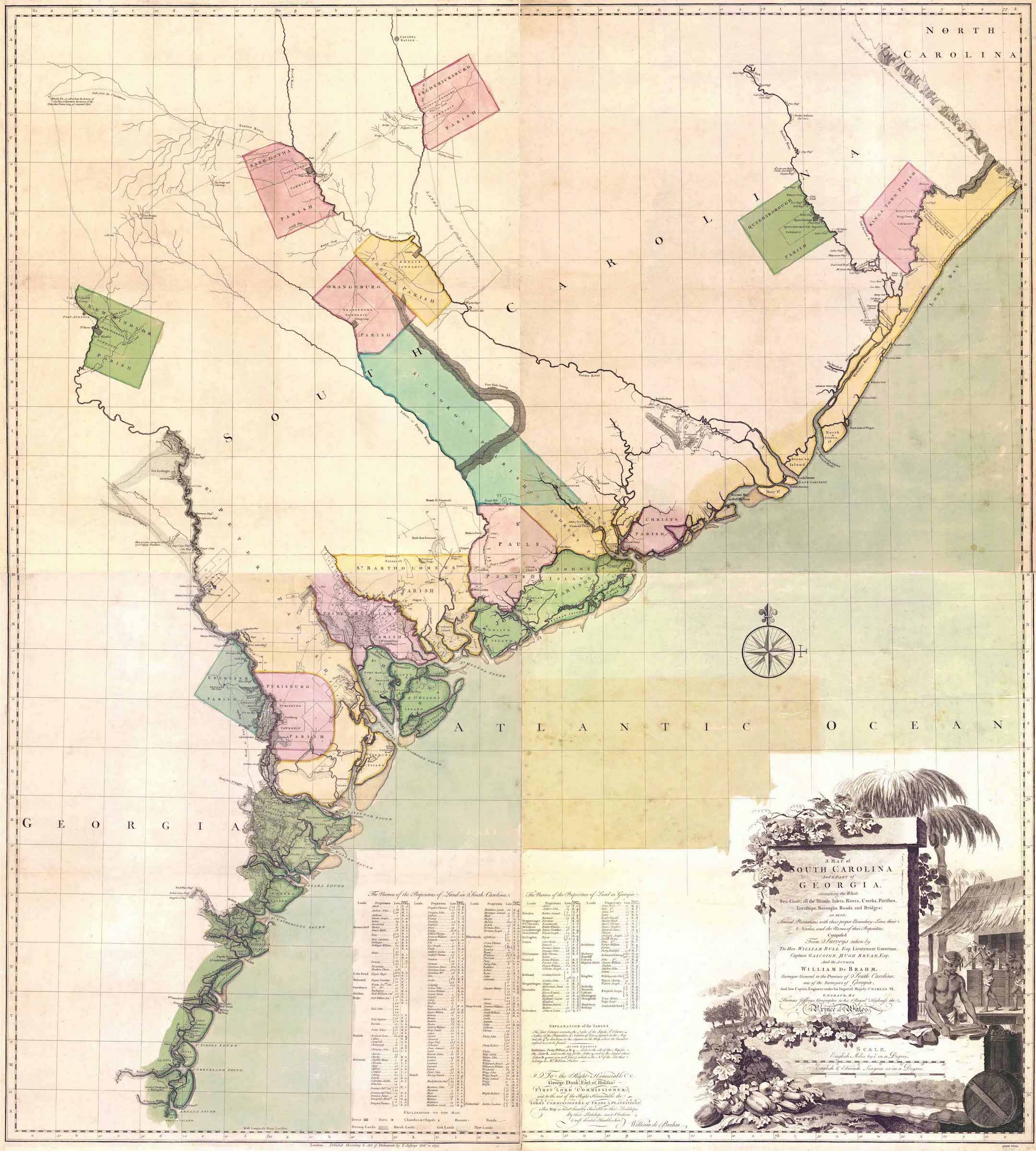 A 1757 map of South Carolina and Georgia by William deBrahm