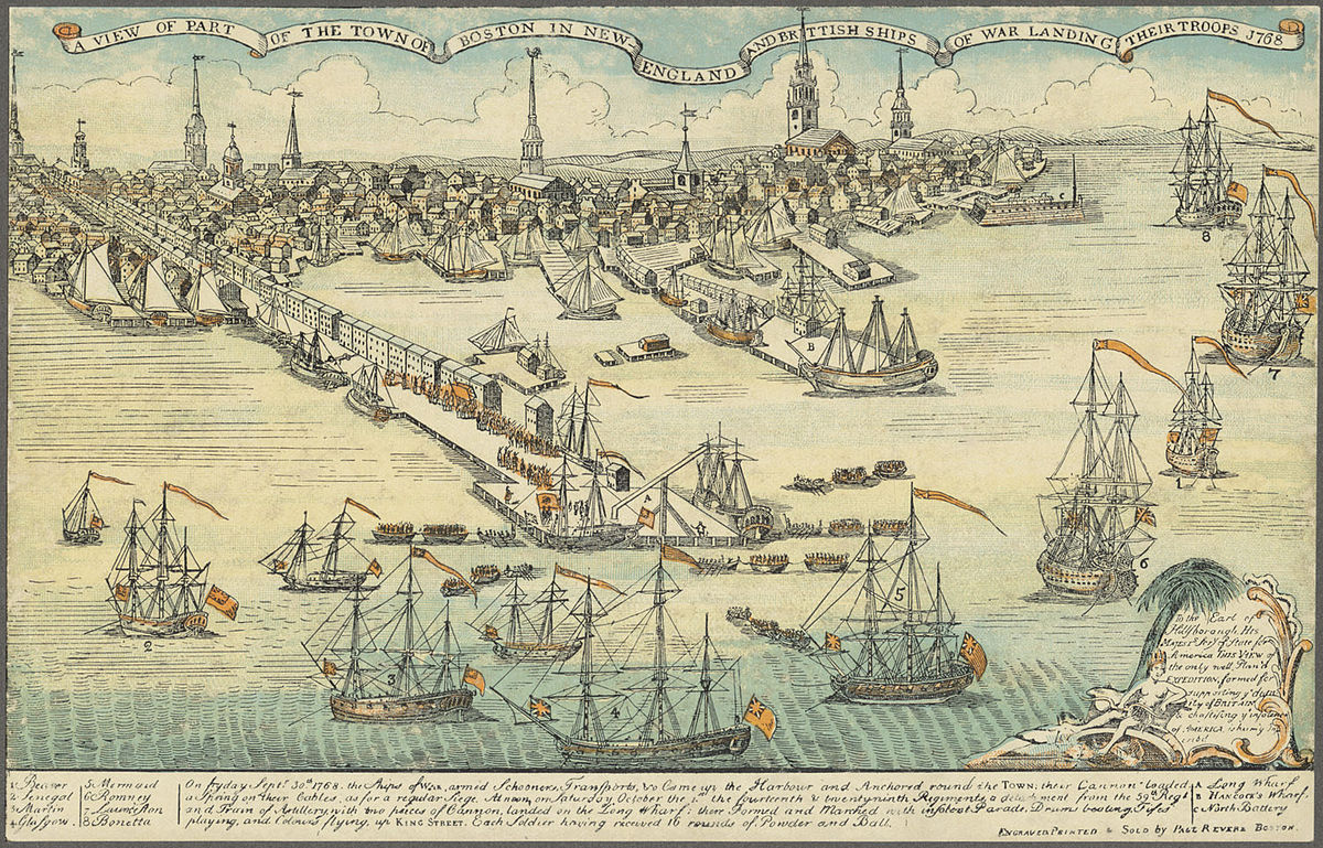 The view of British troops landing at Boston, an engraving by Paul Revere.
