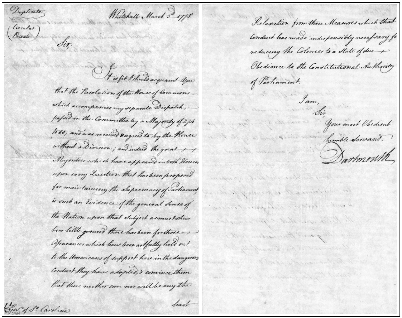 Lord Dartmouth's letter to Lt. Gov. William Bull, dated Whitehall, March 3rd 1775, from the Robert W. Gibbes Collection of Revolutionary War Manuscripts at the South Carolina Department of Archives and History.