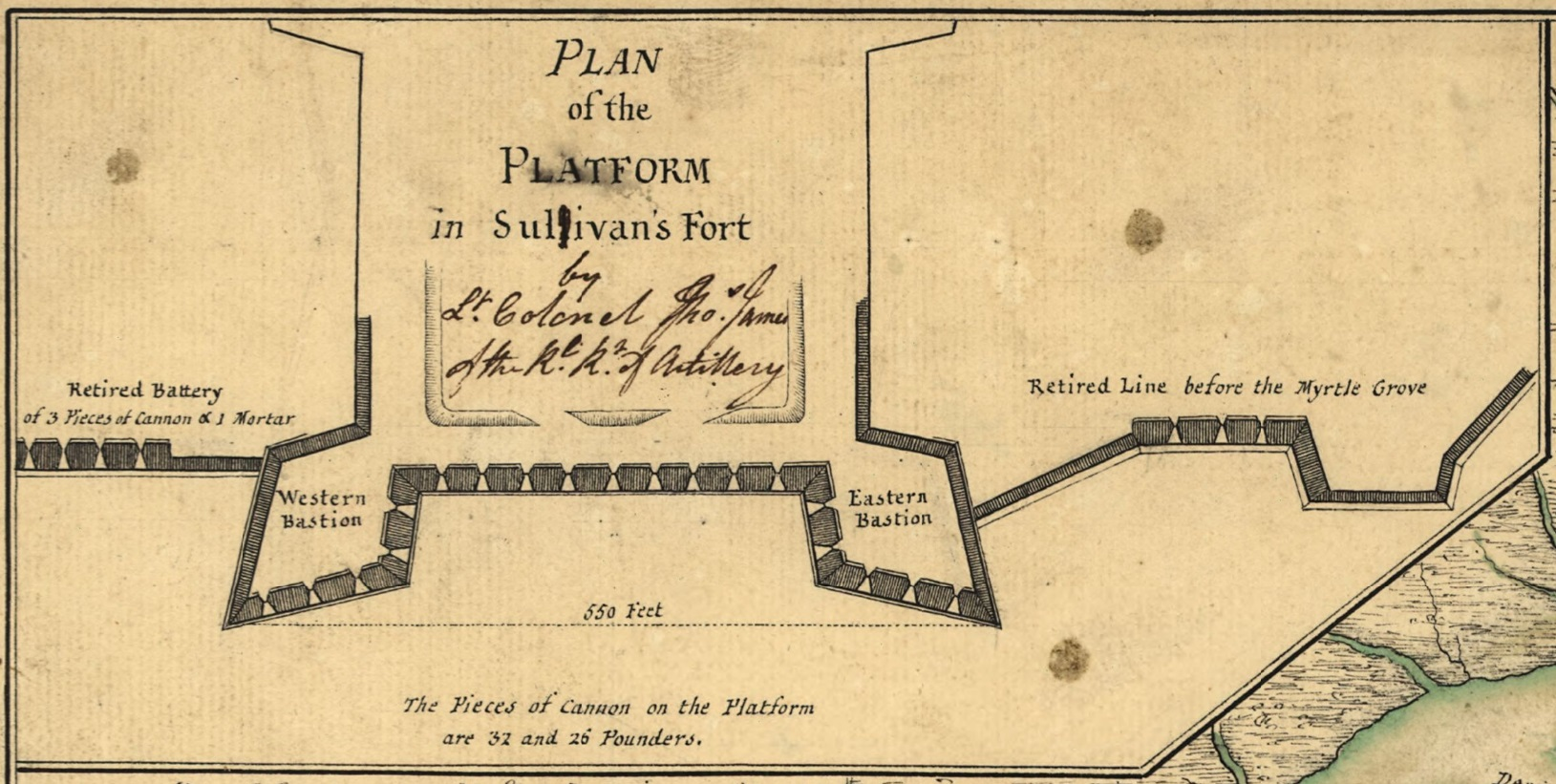 A 1776 Faden map of Sullivan's Island detailing the fort.