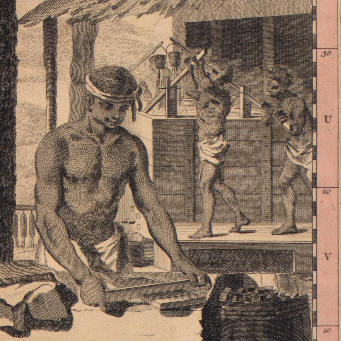 A depiction of enslaved men making indigo.