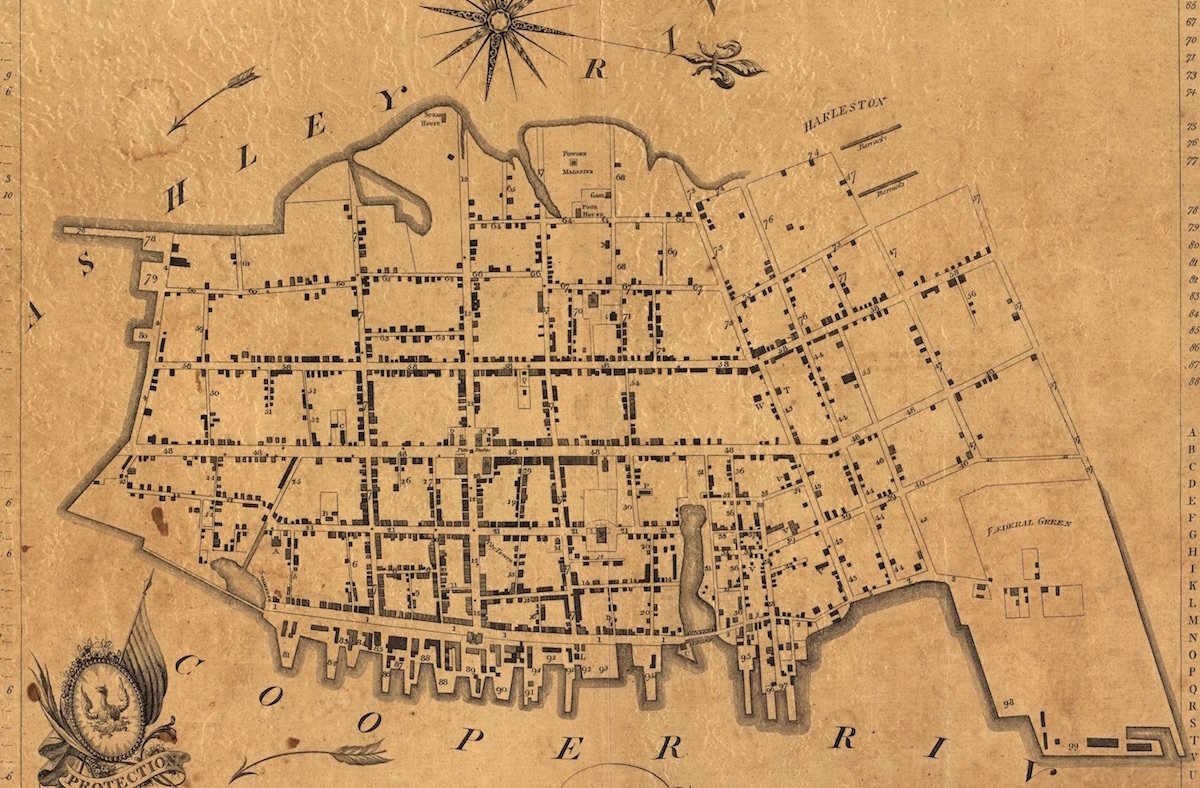 A 1790 map of Charleston based on a survey made in 1788