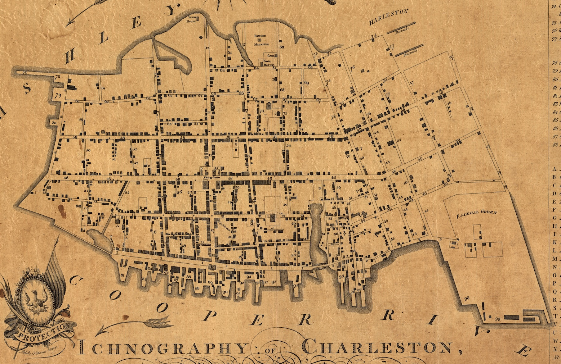 A 1790 map from the Library of Congress collection showing demilitarized Charleston.