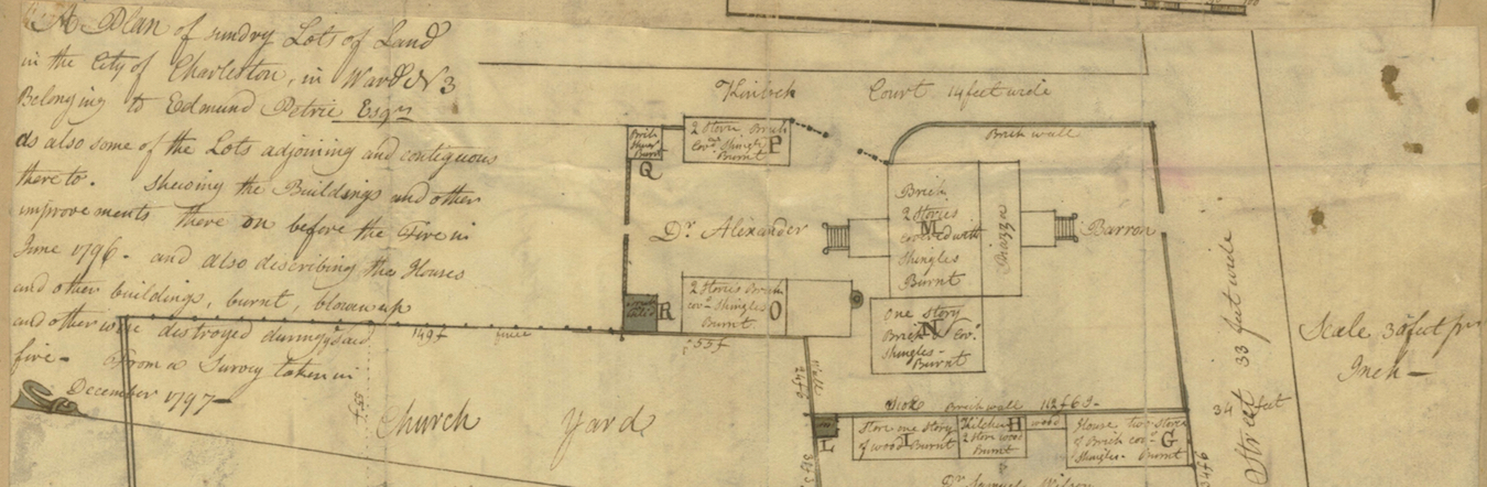 A detail from Joseph Purcell's 1797 plat of Dr. Baron's burned property (right) on Kinloch Court (top)
