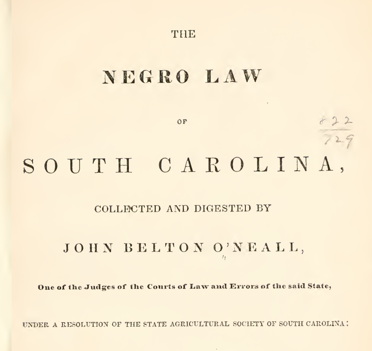 Title page of 1848's legal digest titled The Negro Law of South Carolina.