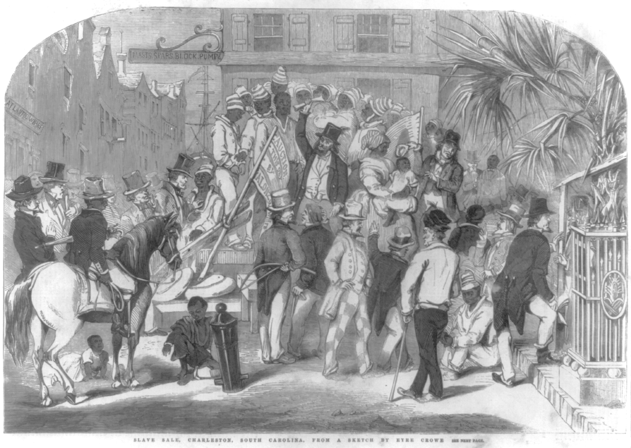 Depiction of a slave sale in Charleston, 1856 (Library of Congress)