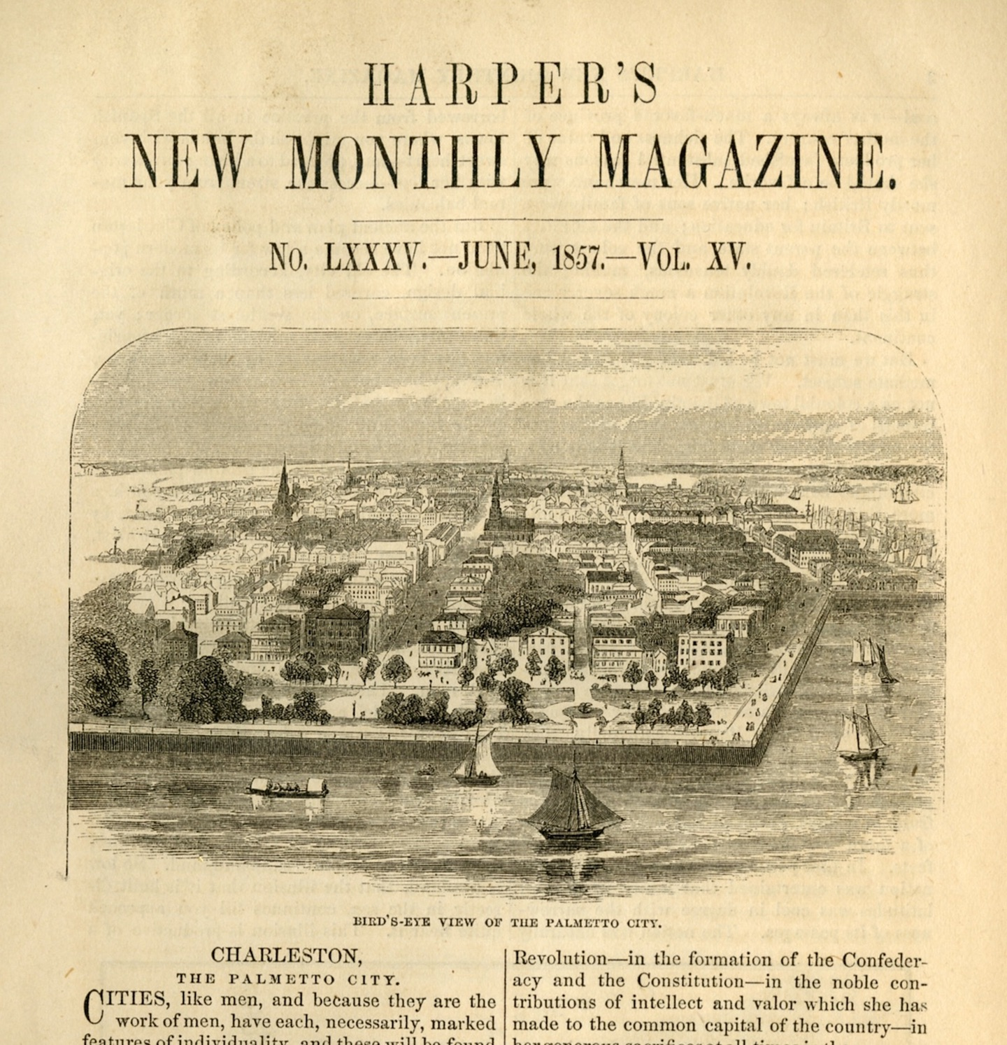 Palmetto City title page from 1857