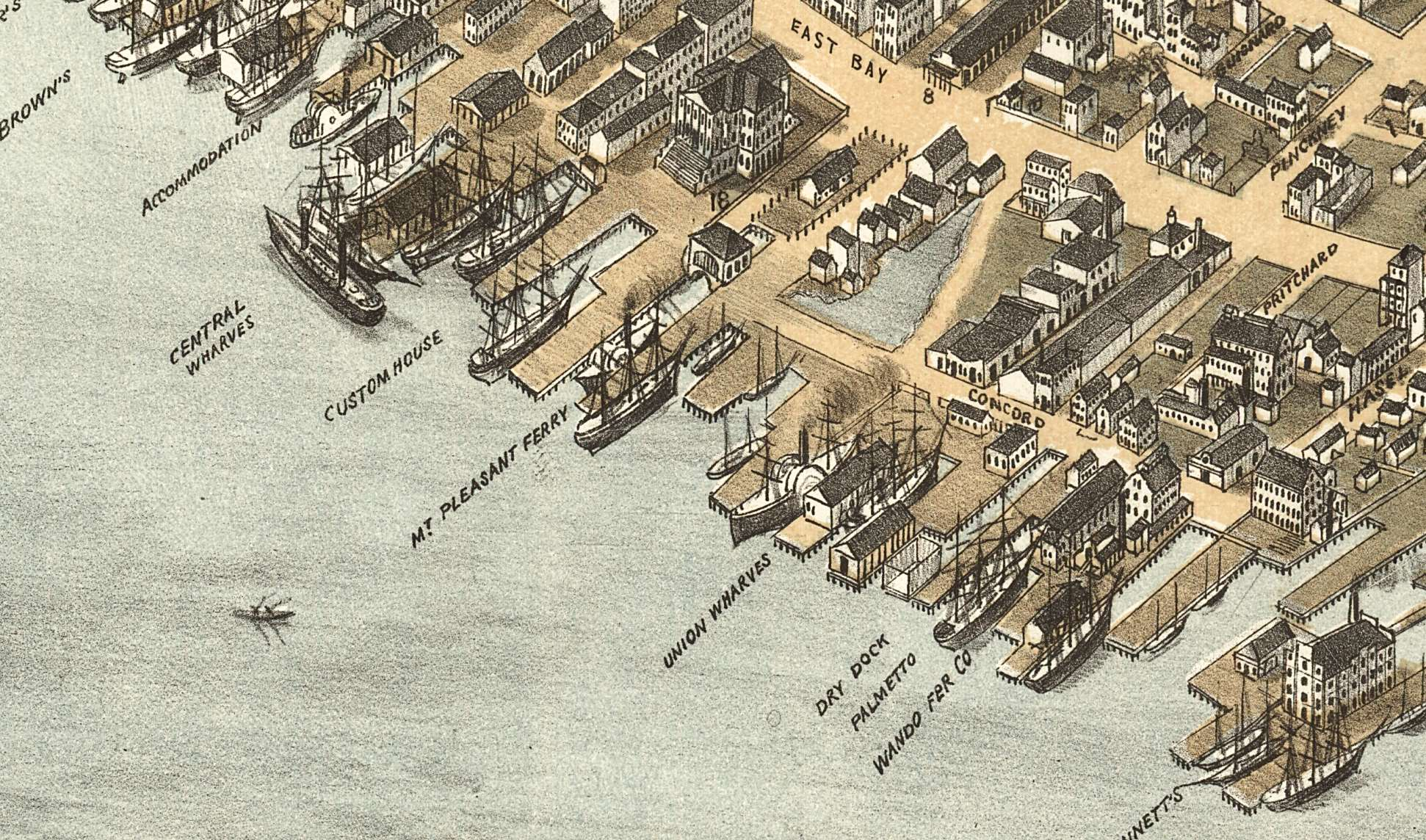 An 1872 drawing of the ferry wharves along the coast of the peninsula.