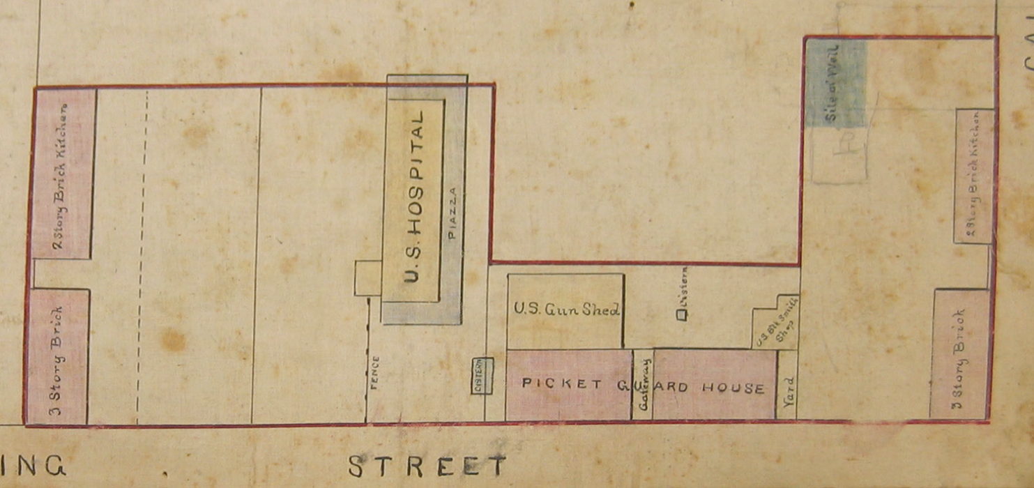 Buildings along the western edge of Marion Square and at the corner of King and Calhoun Streets in 1876, from a plat in the Charleston Archive at CCPL.