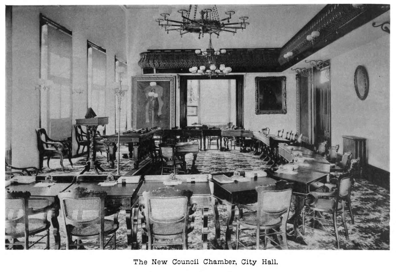 An image of the council chamber in 1882 (Source: Charleston Year Book)