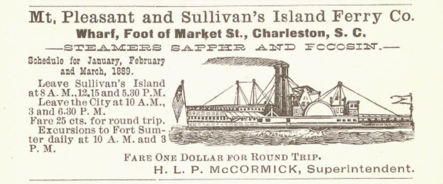 An advertisement in the 1889 Charleston city directory for ferry service.