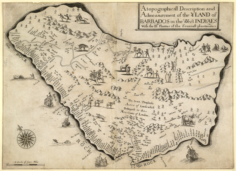 A seventeenth century map of the island of Barbados