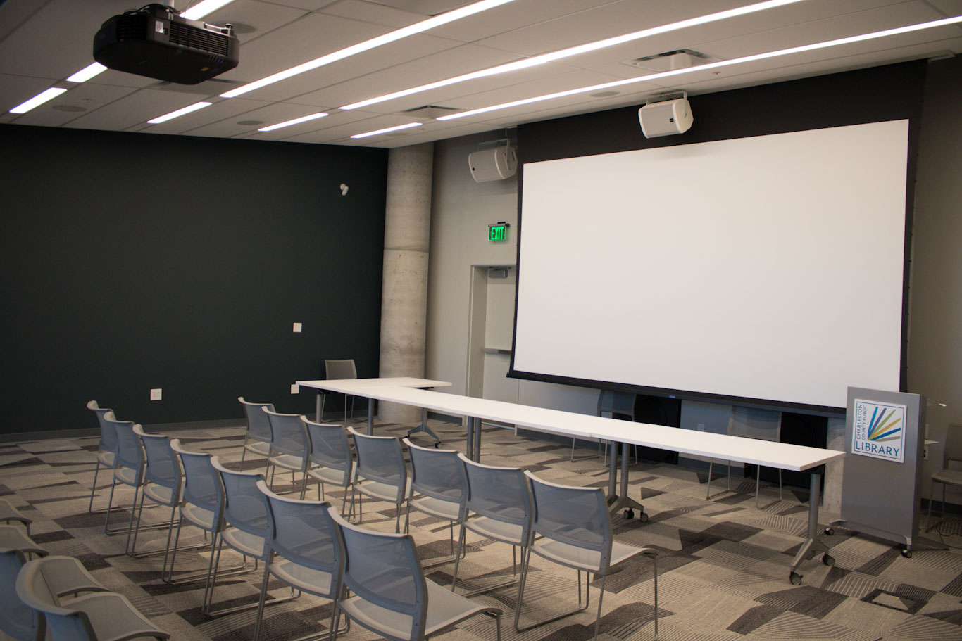 Large Room - Capacity: 55, projector, screen, audio/vido equipment
