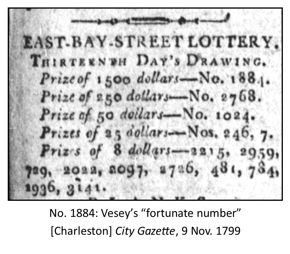 "Denmark Vesey's ""fortunate"" number, 1884"
