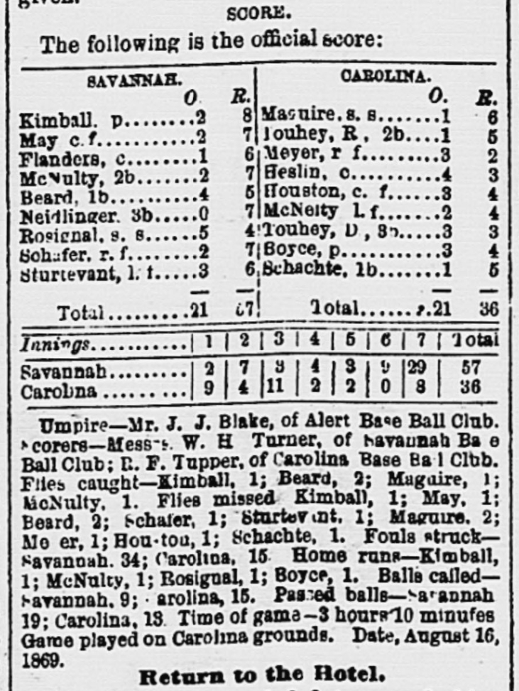 Box score in the August 17, 1869 edition of the Charleston Daily News for the Charleston vs. Savannah baseball rematch.
