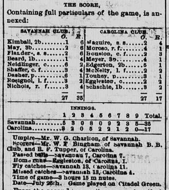 The Charleston-Savannah box score in the July 27, 1869 edition of the Charleston Daily News.