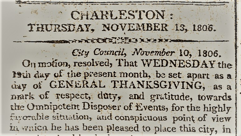 Thanksgiving in Early Charleston