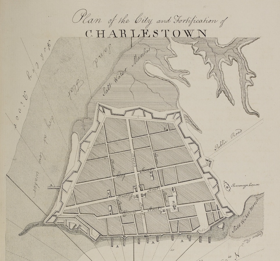 The De Brahm plan to defend Charles Town in 1755 (Source: British Library)