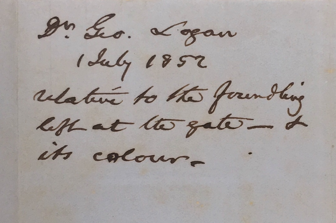 Docket of Dr. Logan's letter from July 1, 1852.