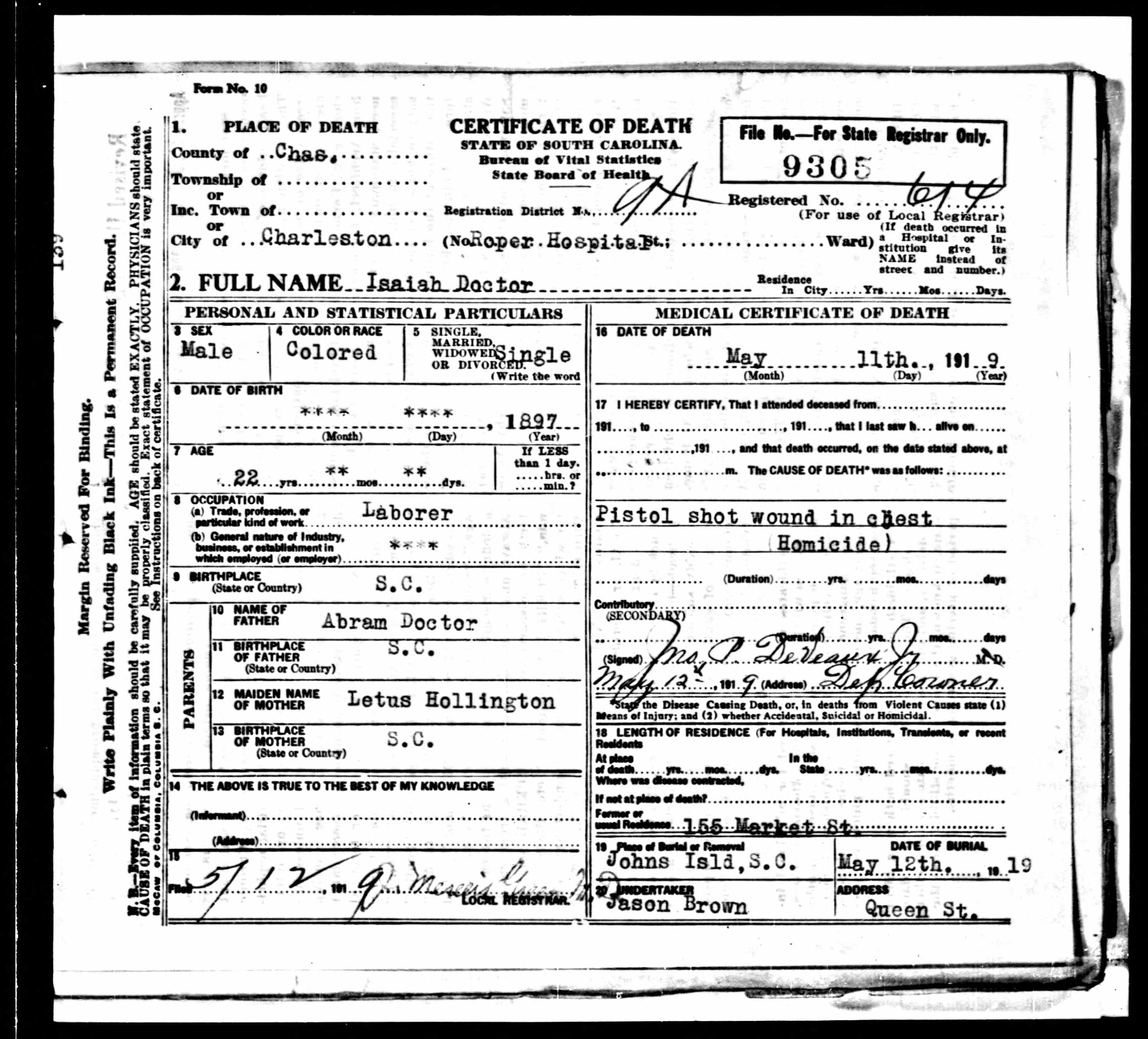 Doctor's death certificate.