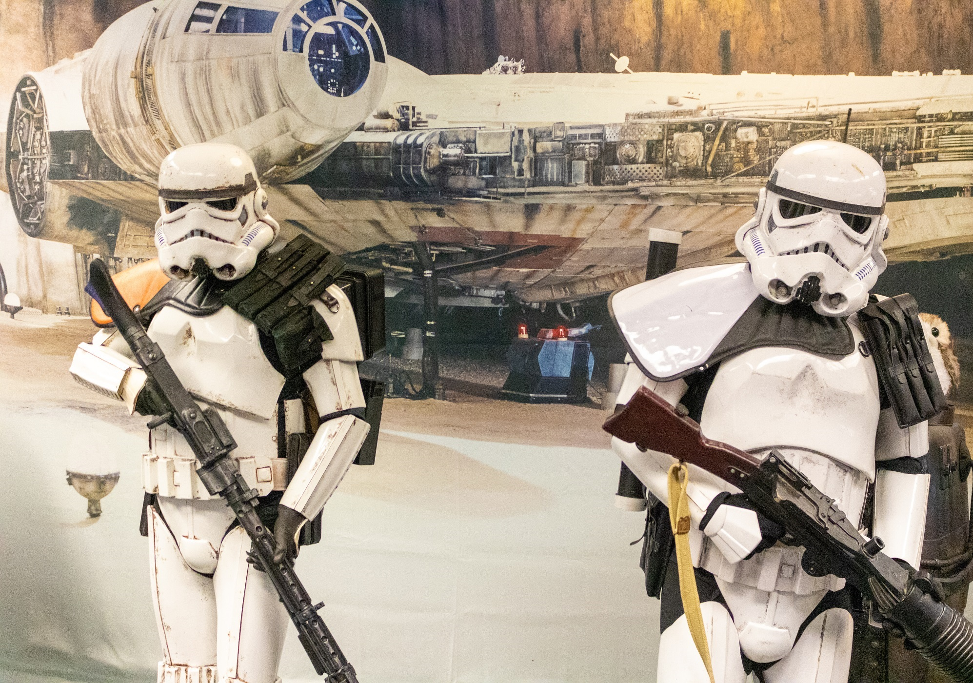 Star Wars Reads Day 2019 - Storm Trooper and Sand Trooper in front of Millennium Falcon