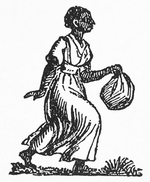 An image of an enslaved woman from a runaway advertisements in a Charleston newspaper