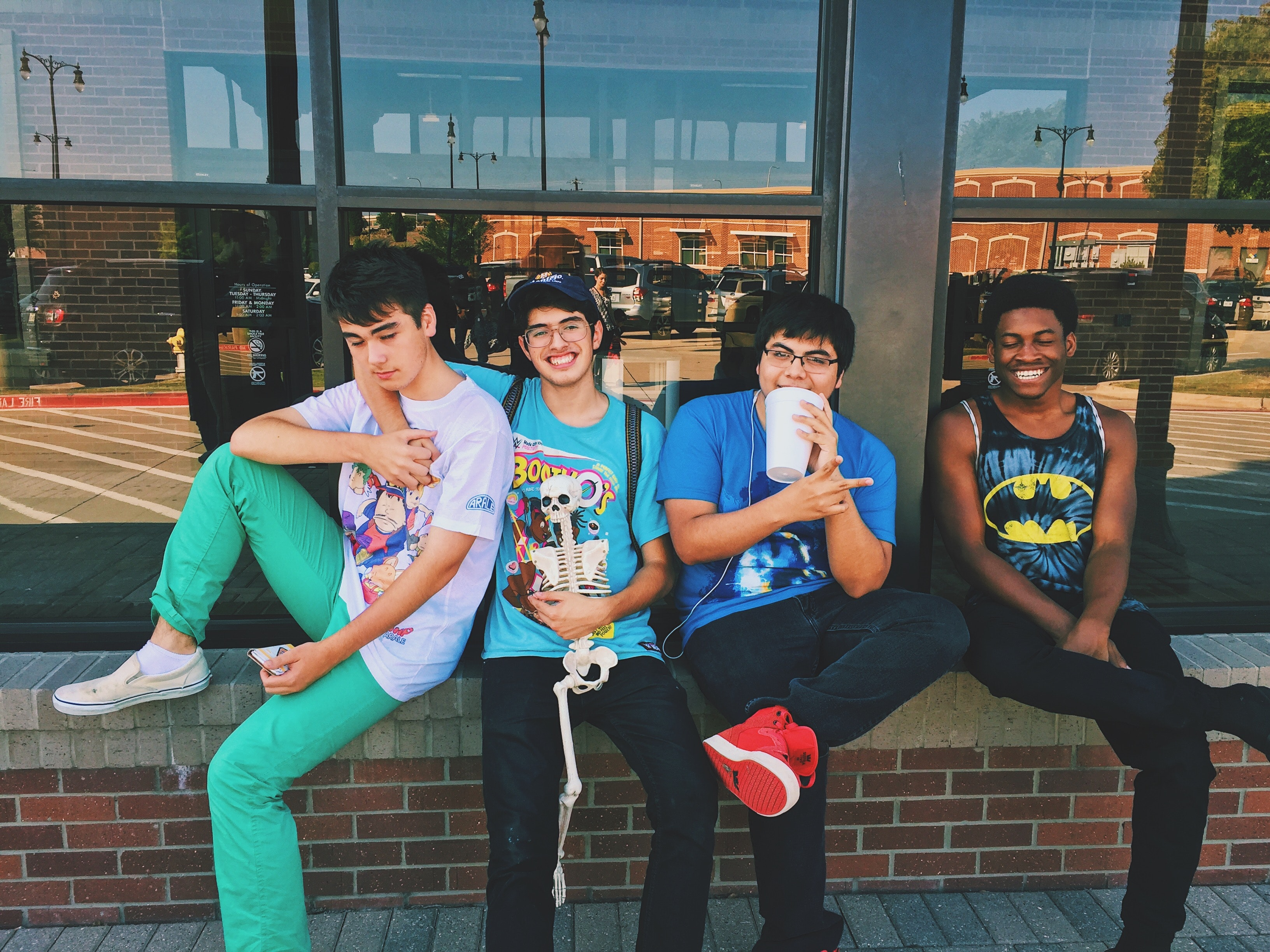 Group of teen boys smiling