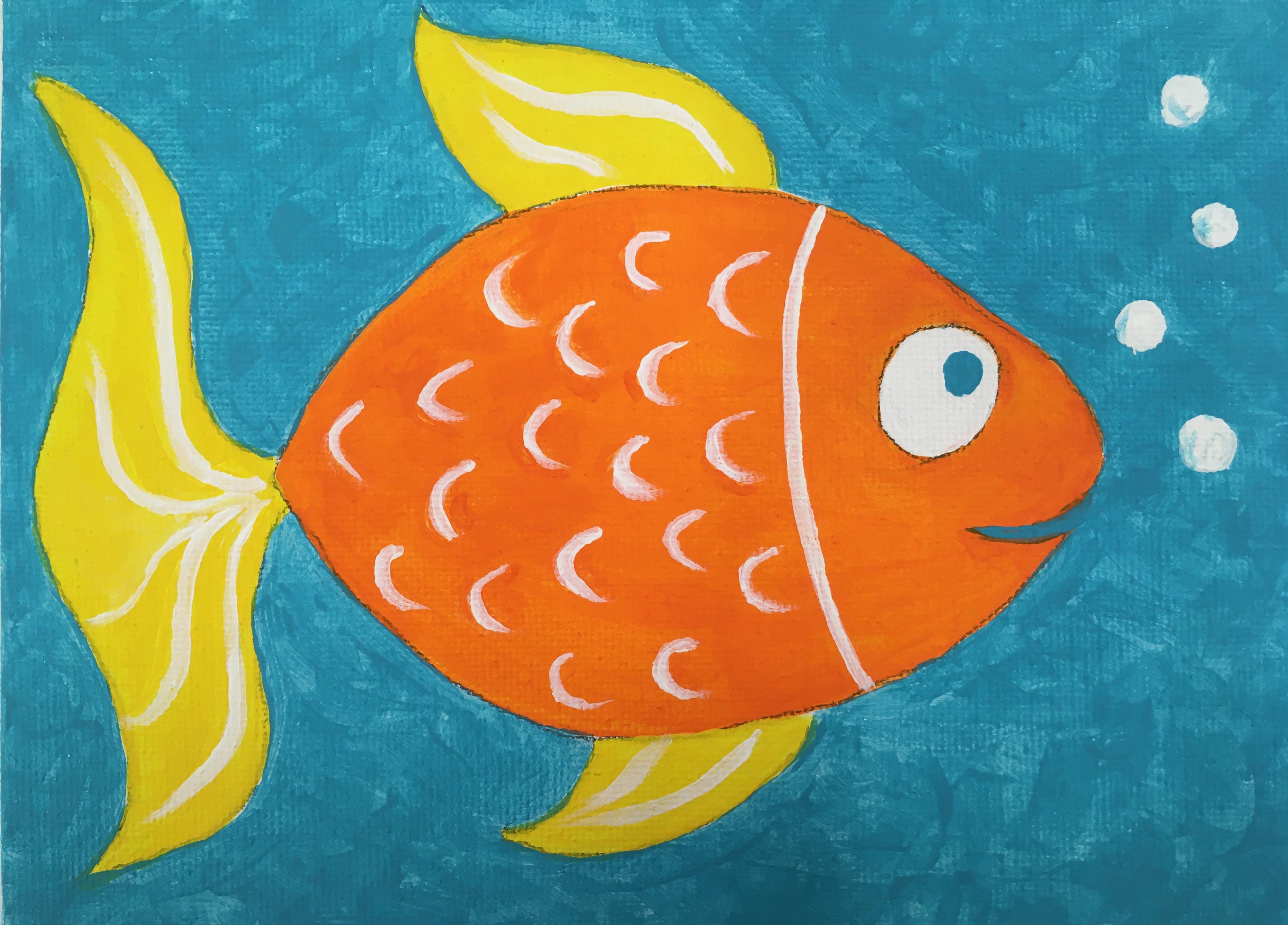 Virtual Kids Painting Class: Fancy Goldfish