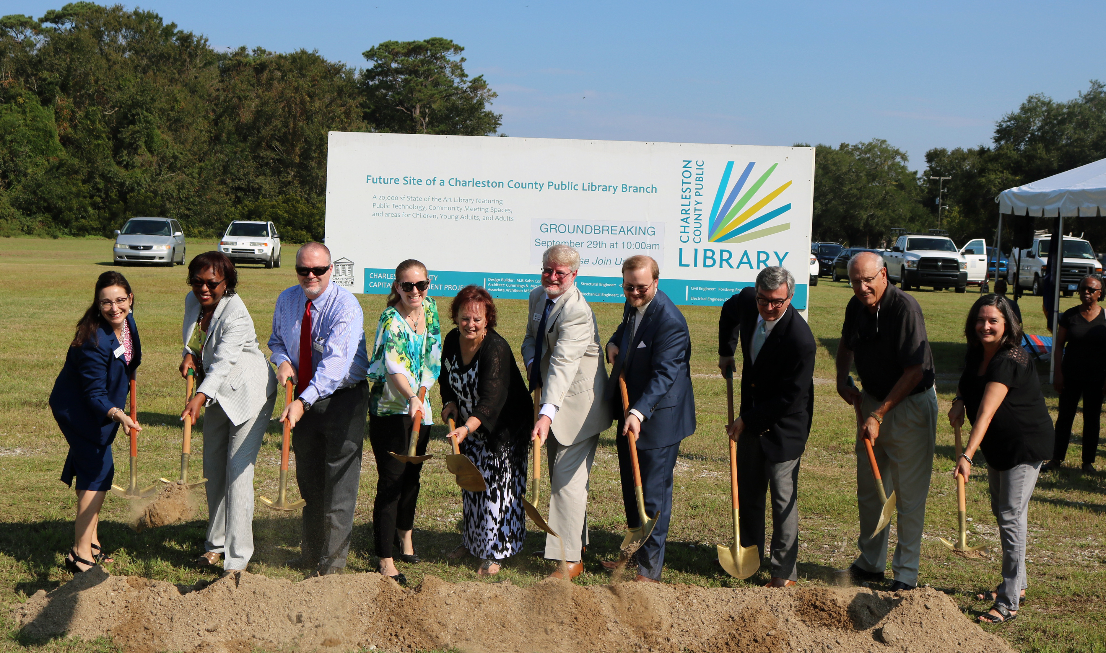 Charleston County Public Library, government officials break ground on Baxter Patrick James Island Library