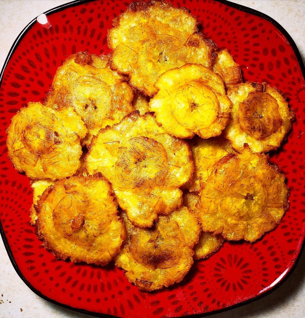 Patacones on a plate by Lindsey Colon