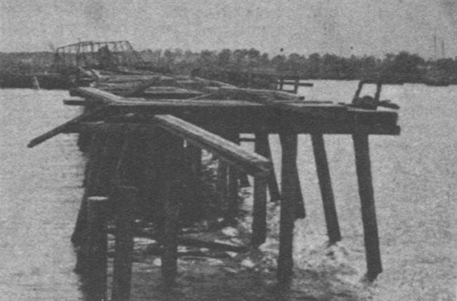The remains of the New Bridge over the Ashley RIver, 1865