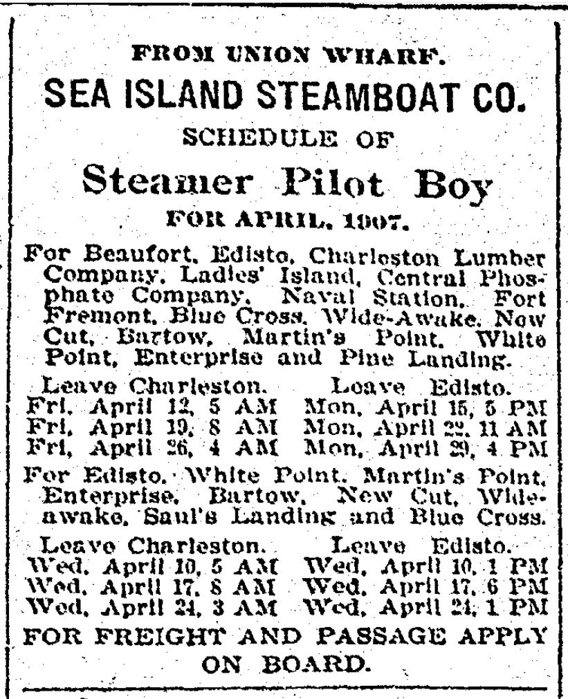 News and Courier advertisement from May 2, 1907 advertising steamer schedules.