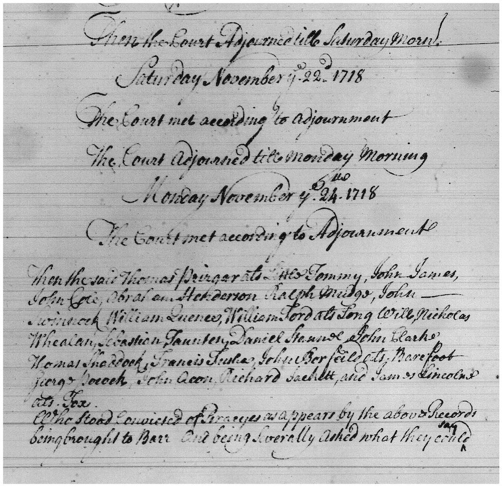 The Nov. 24, 1718 Journal of the Court of Vice Admiralty