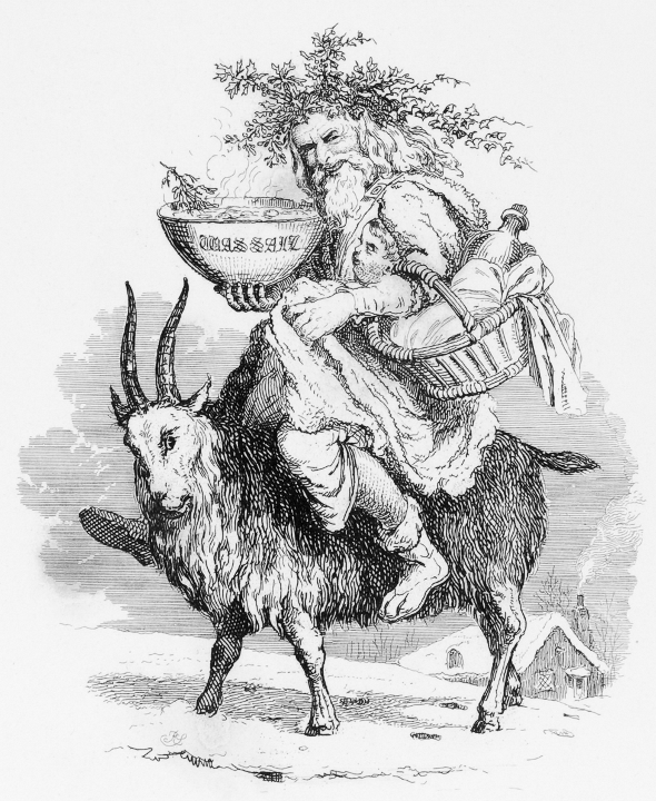 Old Father Christmas riding a goat. By Robert Seymour, 1836