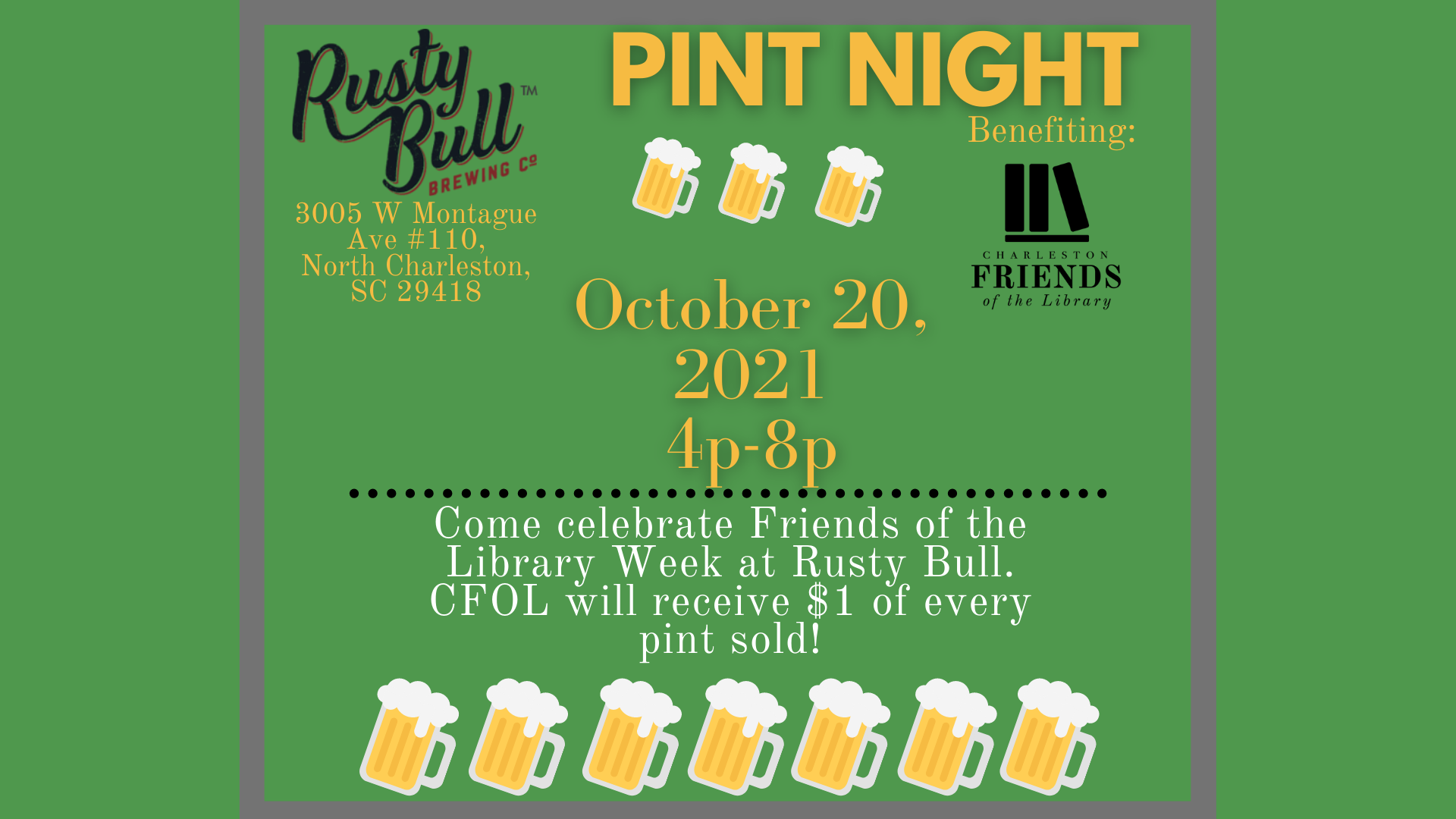 Friends of the Library Pint Night at Rusty Bull celebrating National Friends of the Library Week