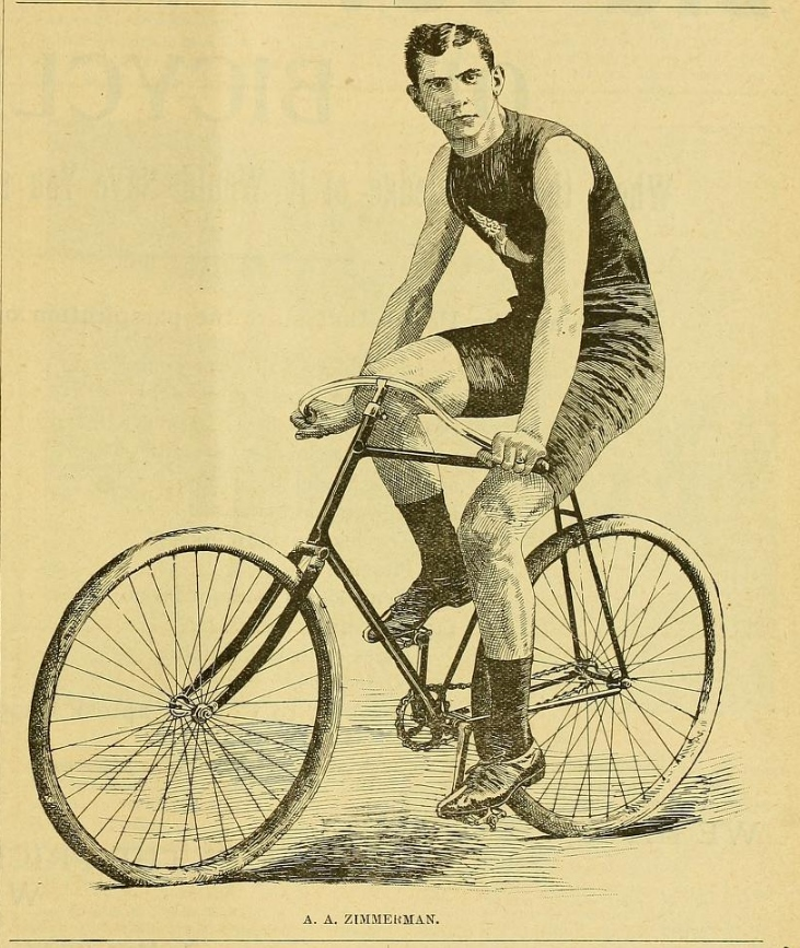 """Arthur """"Zimmy"""" Zimmerman, America's fastest rider in the 1890s. From Referee magazine, 11 August 1893."""