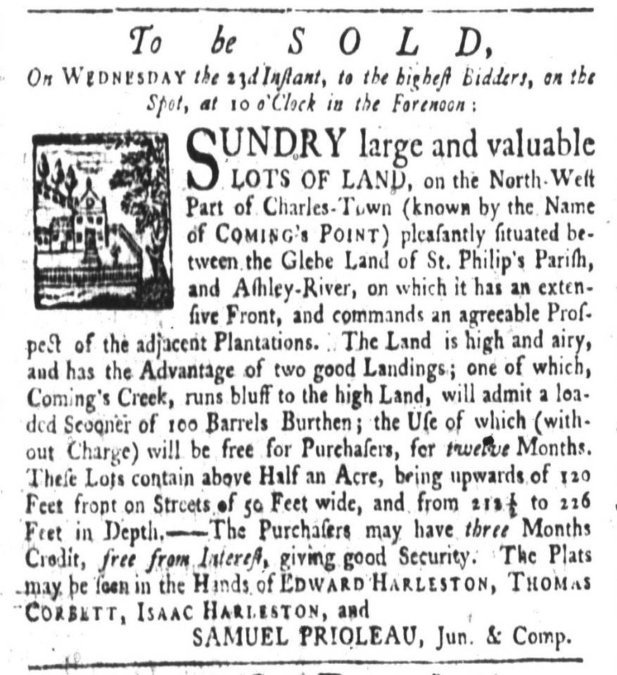 An advertisement for Harleston lands from the South Carolina Gazette, 3 May 1770