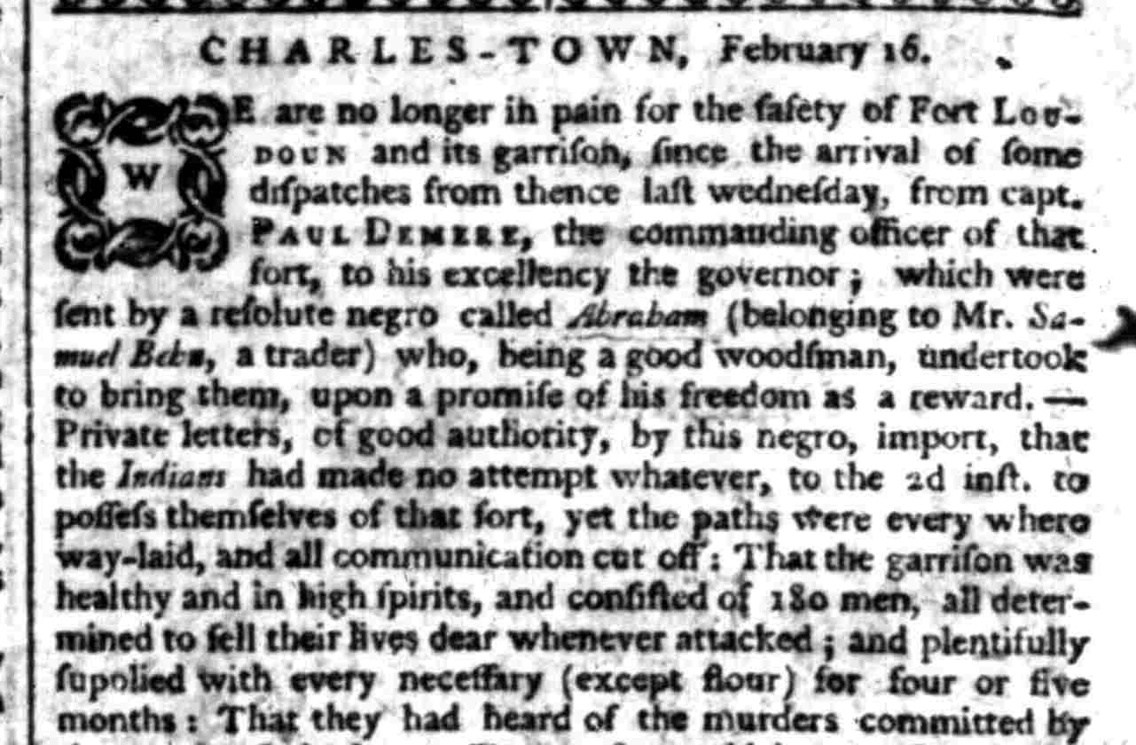 An update on the fate of Fort Loudoun in February, 1760.