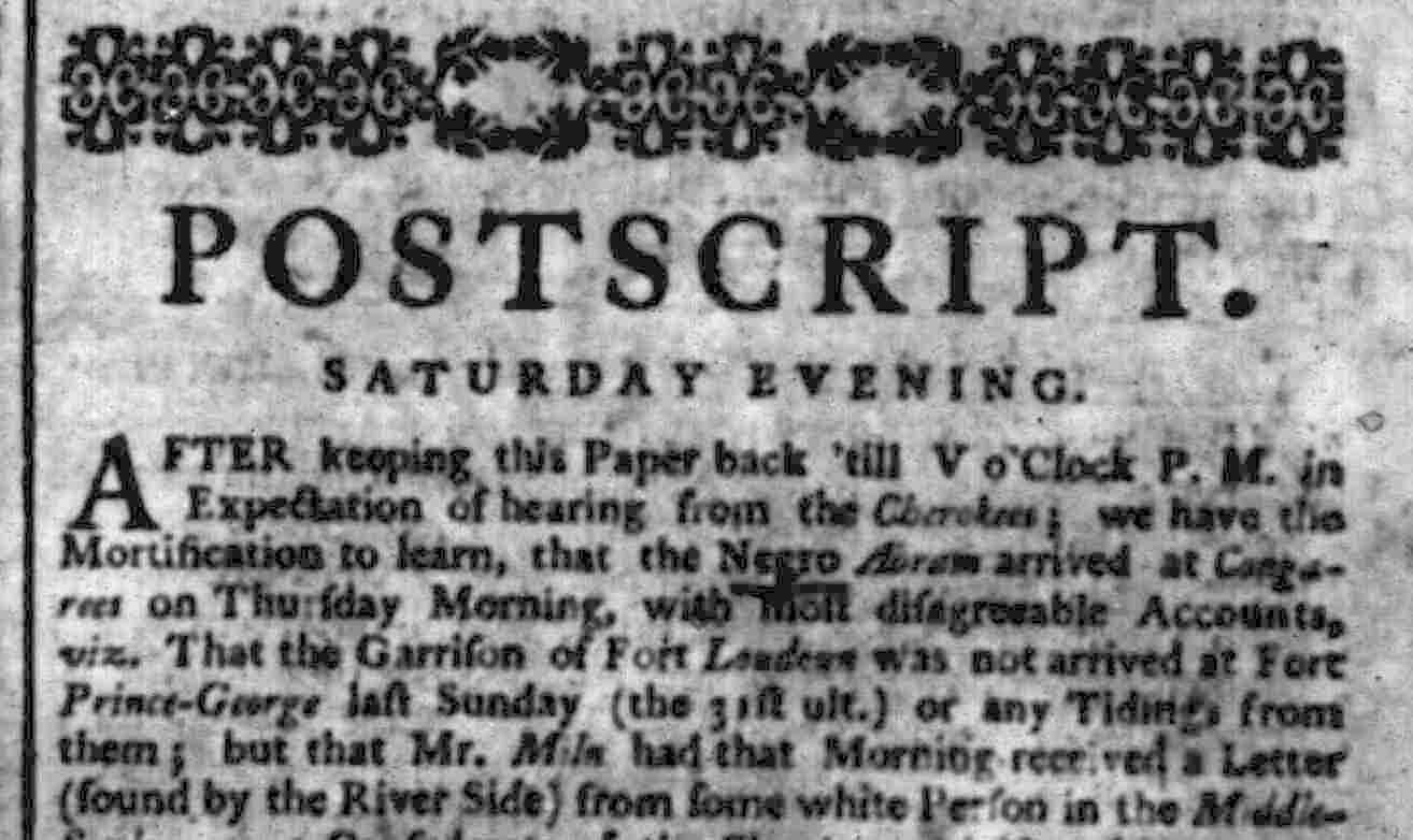 More news from Abraham in the Sept. 6, 1760 edition of the SC Gazette.