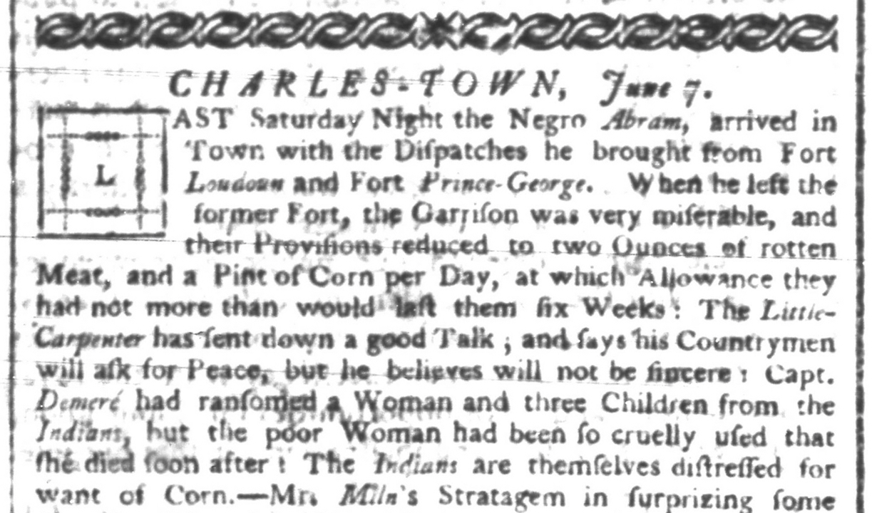 A June 7, 1760 edition of the South Carolina Gazette recounts Abraham's tale.