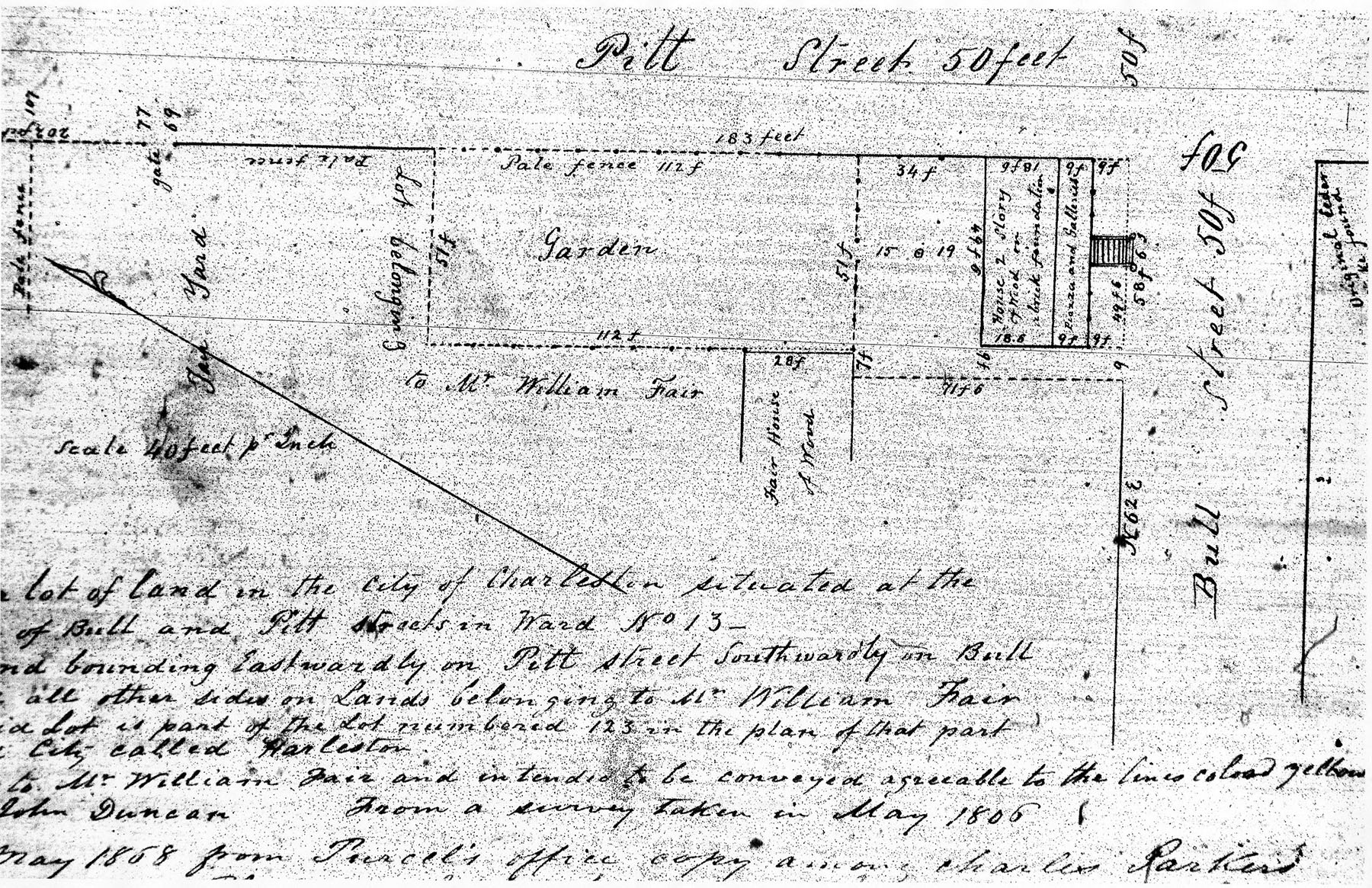 An 1858 copy of an 1806 plat of John Duncan's property at the northwest corner of Bull and Pitt Streets (McCrady Plat Collection No. 3657)