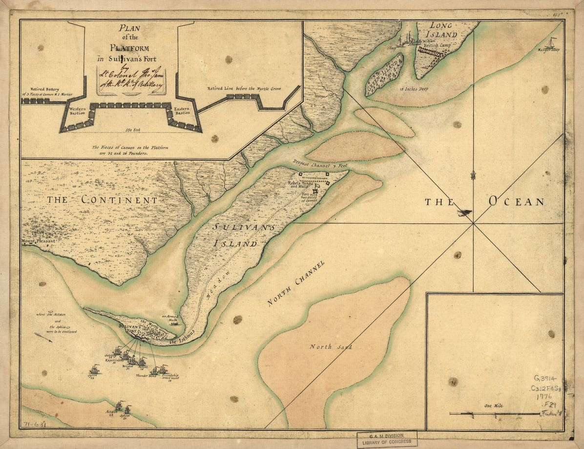Detail from a 1776 map of the battle, from the collections of the Library of Congress.