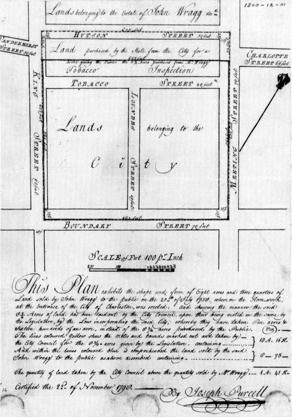 """Joseph Purcell's 1798 plat of the public land that became """"Marion Square"""" and """"the Citadel"""" (from the collections of the South Carolina Department of Archives and History)"""